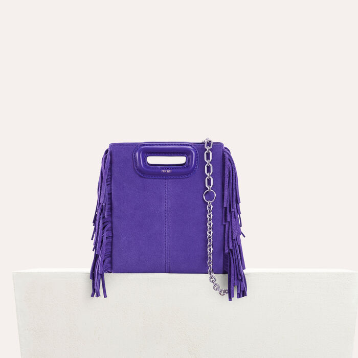 Mini M bag in suede with chain : Bags color Purple