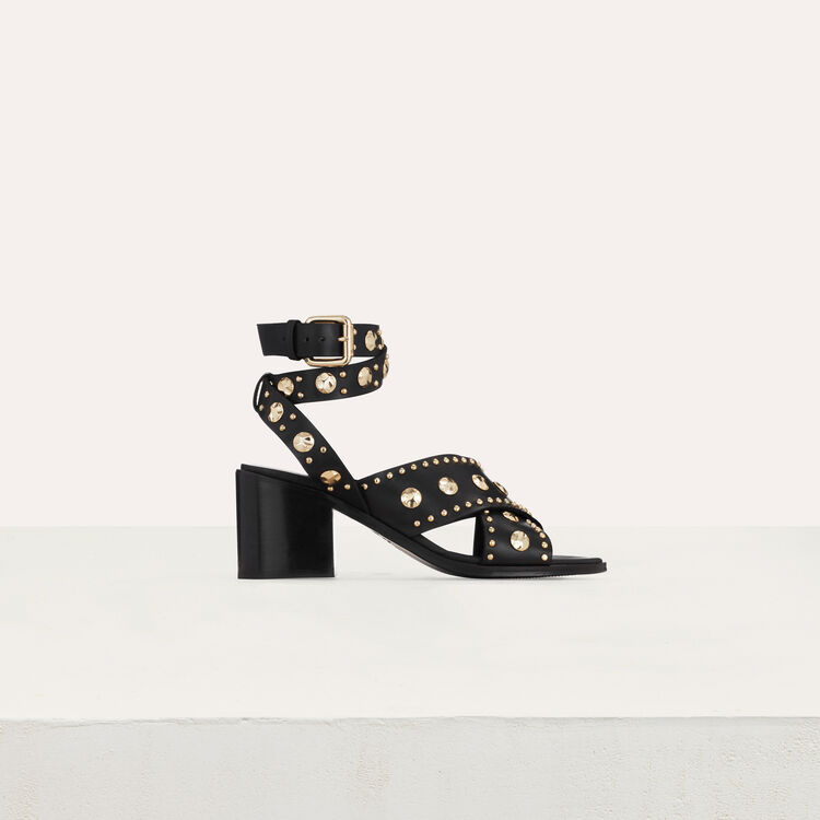 Healed leather sandals with studs : Shoes color Black 210