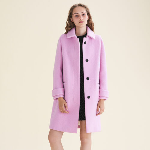 Straight-cut coat in virgin wool : Coats & Jackets color Pink
