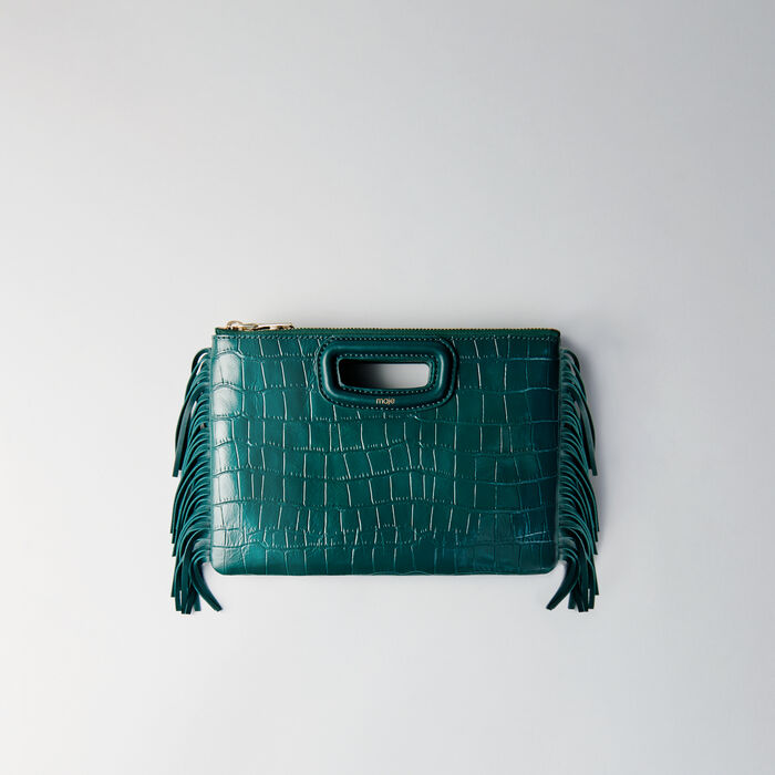 Crocodile embossed-leather M Duo clutch : M Duo color GREEN