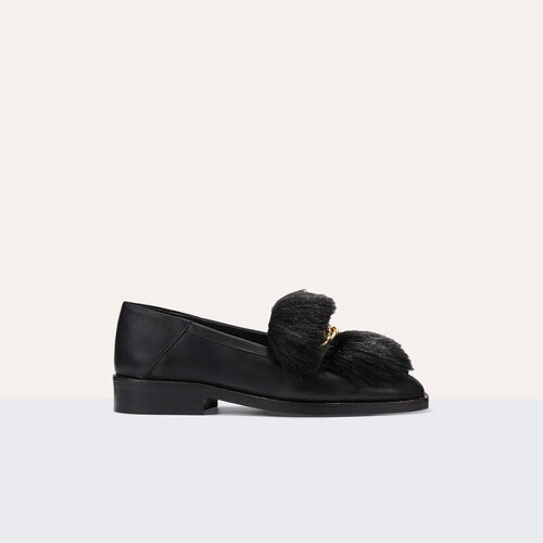 Leather loafers with detachable fur : Shoes color Black 210