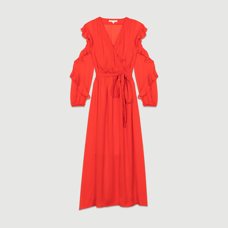 Maxi wrap dress with flounce detail : Dresses color ROUGE