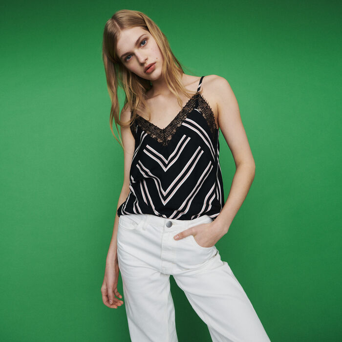 Striped camisole with lace : Tops & T-Shirts color Stripe