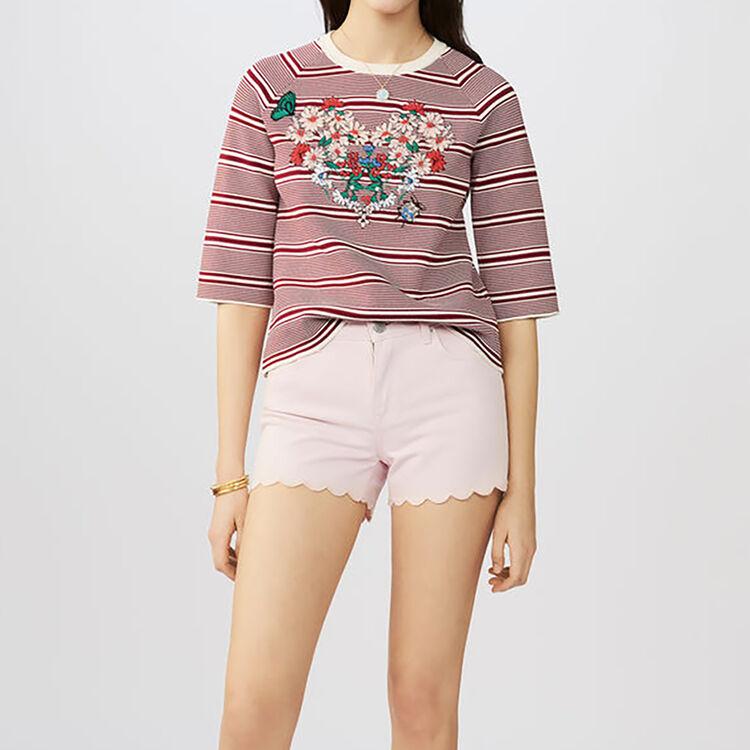 Jean shorts with novelty seaming : Skirts & Shorts color Pink