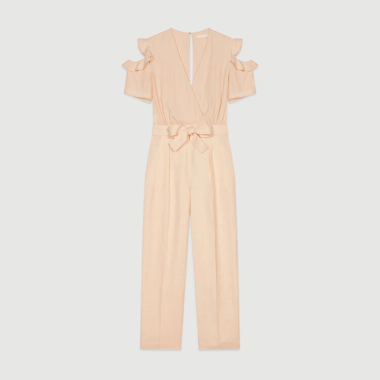 Bimaterial jumpsuit : Jumpsuits & Rompers color Mandarine