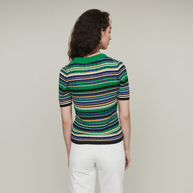 Striped knit polo : Sweaters color Multico