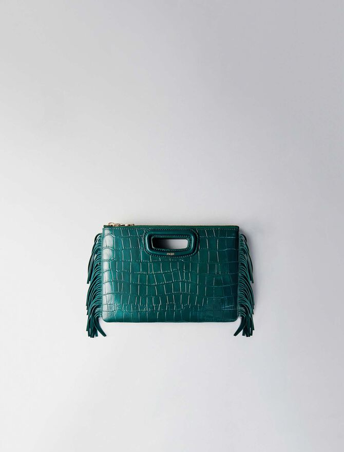 Crocodile embossed-leather M Duo clutch -  - MAJE