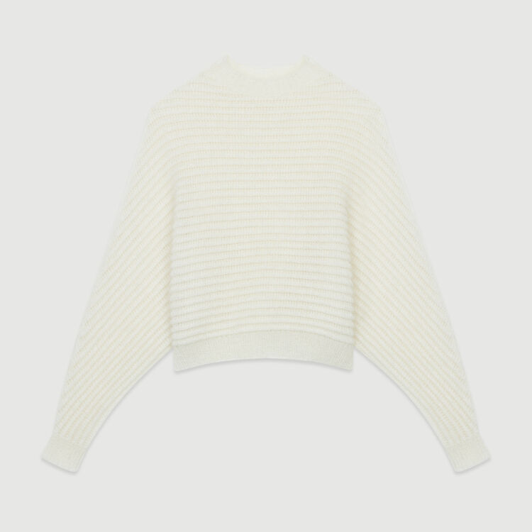Cropped oversize sweater : Sweaters color Ecru