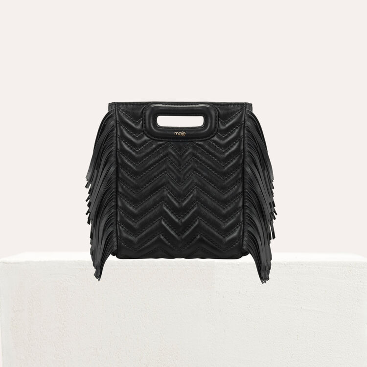 Quilted mini M bag with leather fringe : The Essentials color Black 210