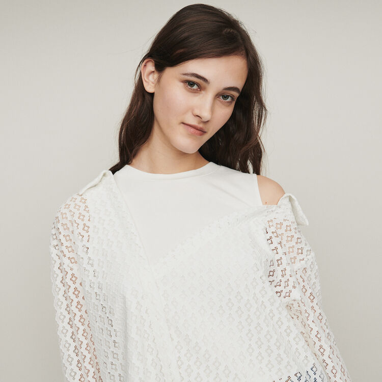Layered shirt in geometric guipure : Tops & T-Shirts color White