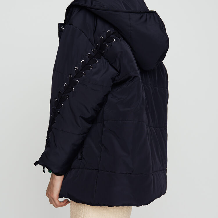 Cropped down jacket with lacing : Coats & Jackets color Navy