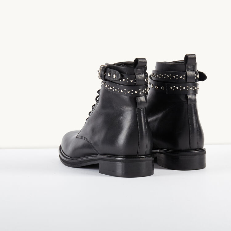 Leather ankle boots with studded straps : Shoes color BLACK
