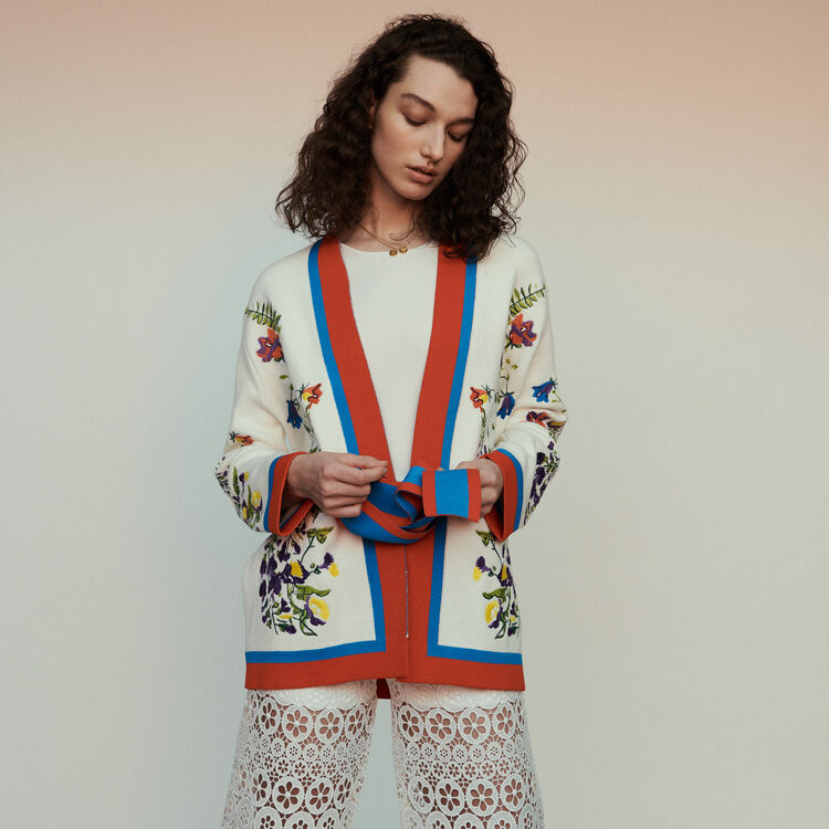 Cardigan with floral embroidery : Sweaters color Multico