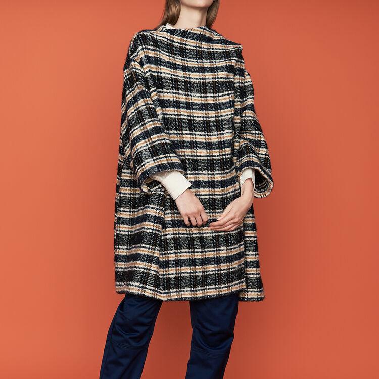 Poncho-style coat in tartan : Coats & Jackets color CARREAUX