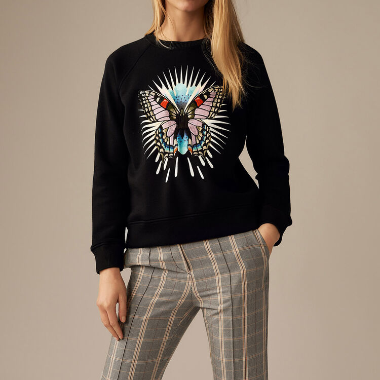 Sweatshirt with embroidered butterfly : Tops & Shirts color Black 210