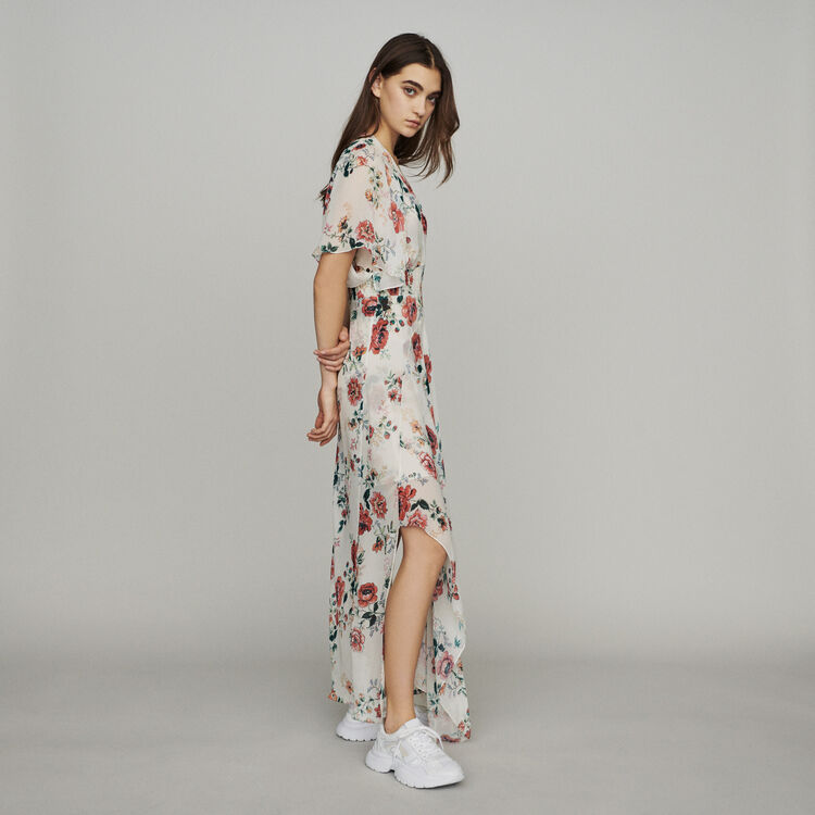 Scarf dress in printed chiffon : The Essentials color Printed