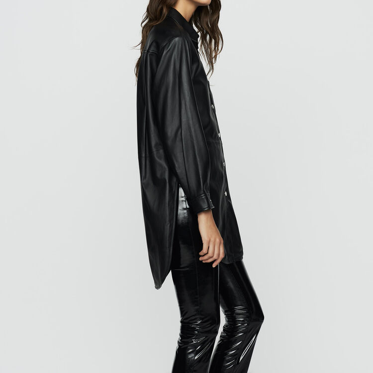 Long leather blouse : Tops & T-Shirts color BLACK