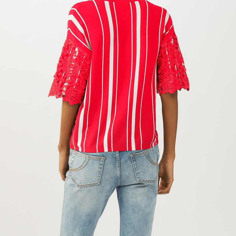 Striped t-shirt with lace sleeves : Sweaters color ROUGE