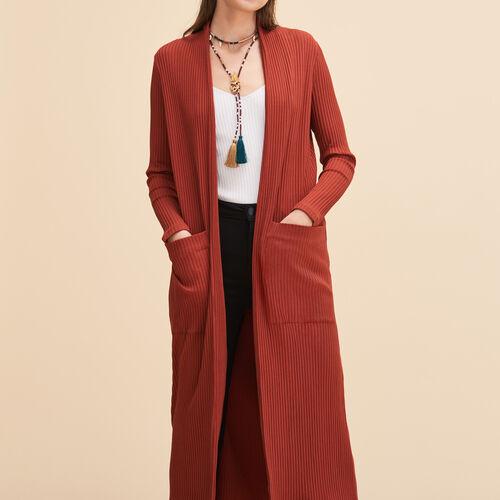 Long tube-knit cardigan - Sweaters - MAJE