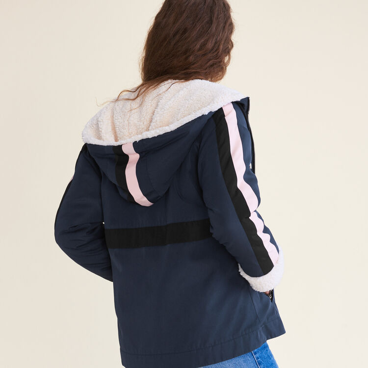 Two-tone cropped parka : Coats & Jackets color Navy