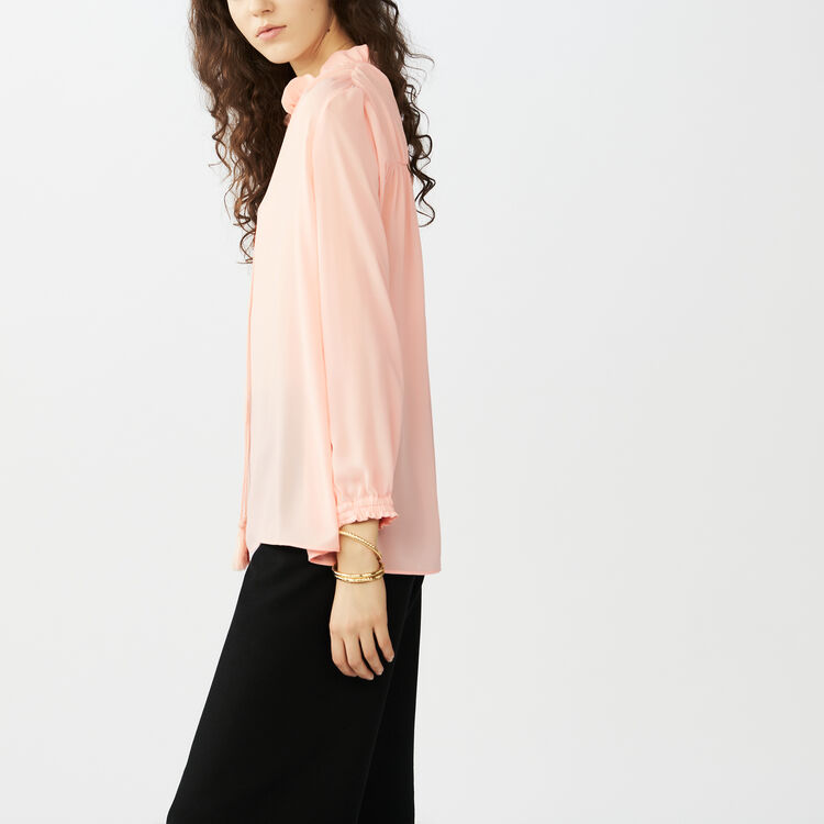 Flowing blouse with cord tie : Tops & Shirts color Pink