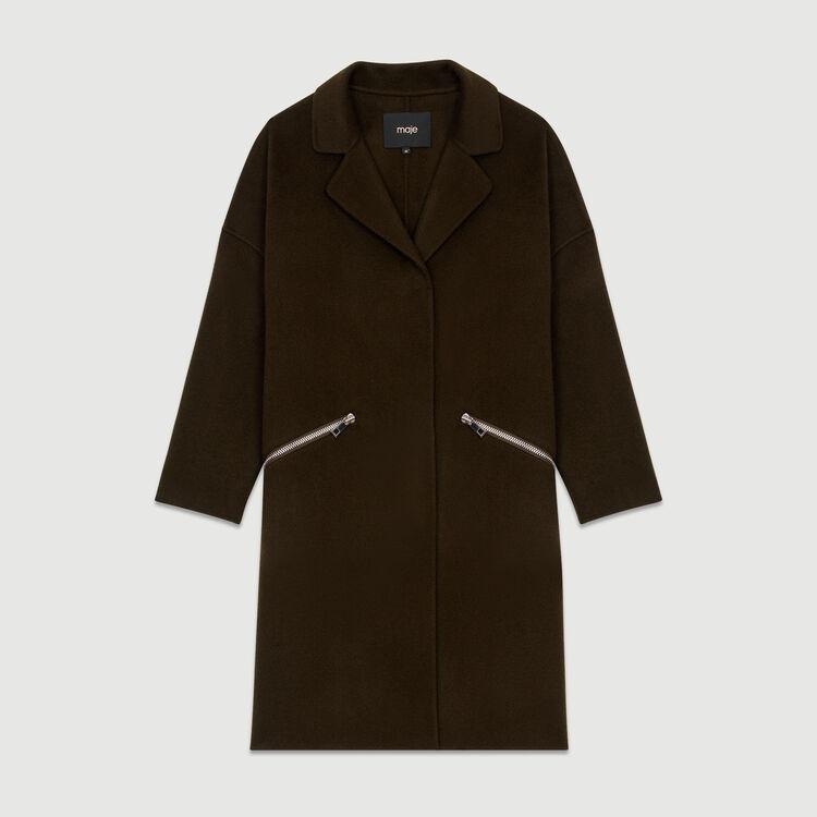 Coat in double-face wool : Coats & Jackets color Khaki