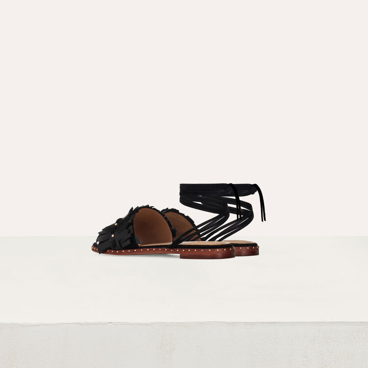 Flat sandals with ties in leather : Shoes color Black 210