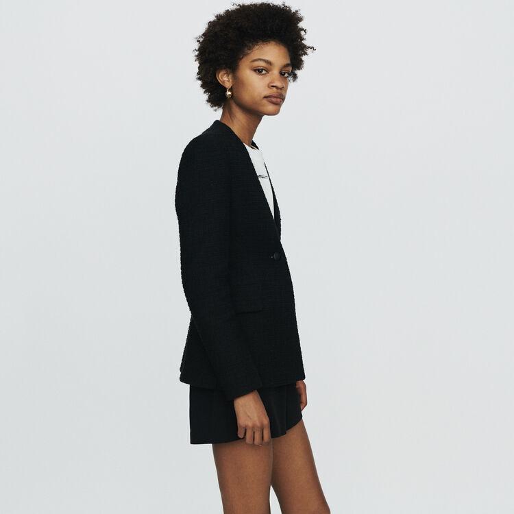 Collarless tweed-style jacket : Coats & Jackets color Black 210