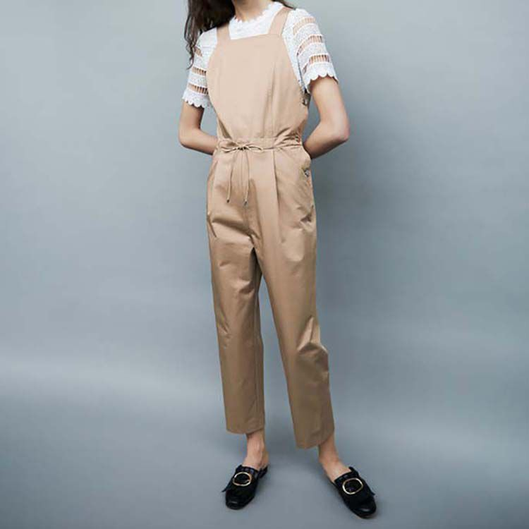 Cotton canvas overalls : Pants & Jeans color Beige