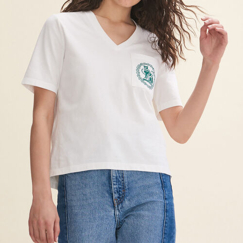 Embroidered cotton T-shirt - Tops & T-Shirts - MAJE