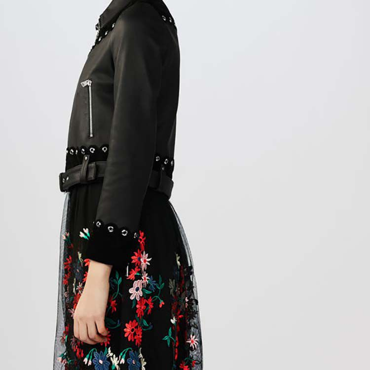 Cropped leather and suede jacket : Coats & Jackets color Black 210