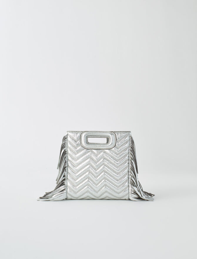 Silver quilted leather M bag - Mini Bags - MAJE