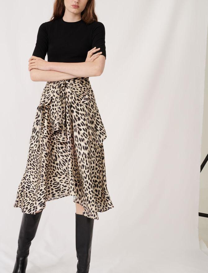 Trompe l'œil jersey & satin print dress - The Essentials - MAJE