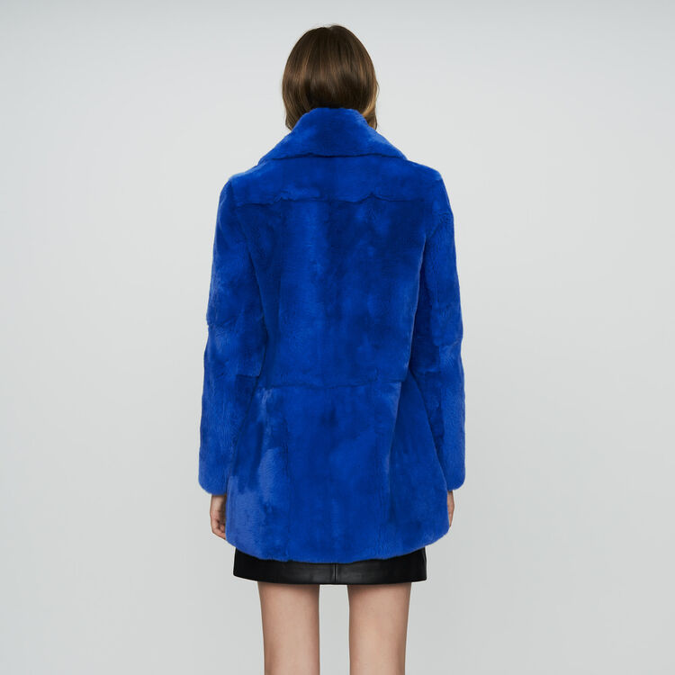 Cropped fur coat : Coats & Jackets color Blue