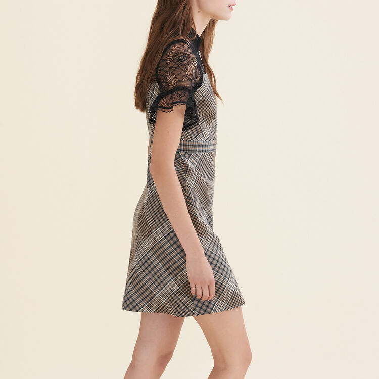 Short dual-material dress : null color