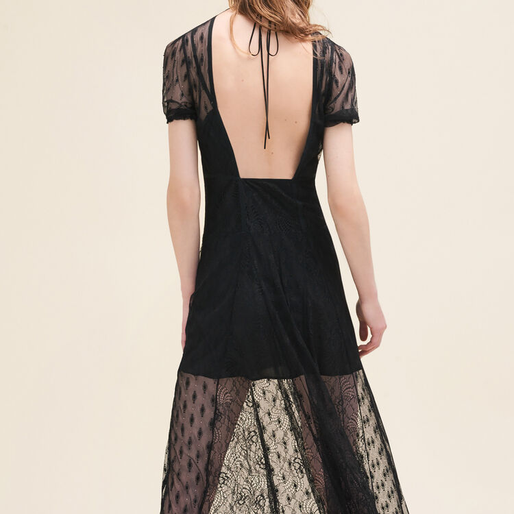 Long dress with embroidery and lace : null color