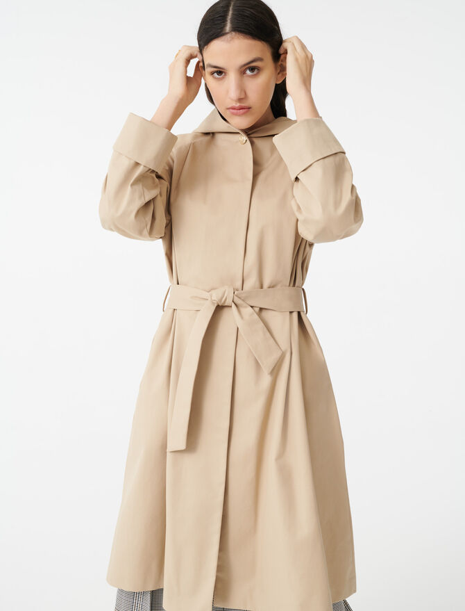 Hooded trench coat with belt - The Essentials - MAJE