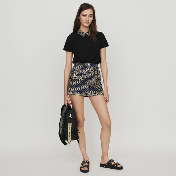 Top with jacquard collar : Tops & T-Shirts color Black 210