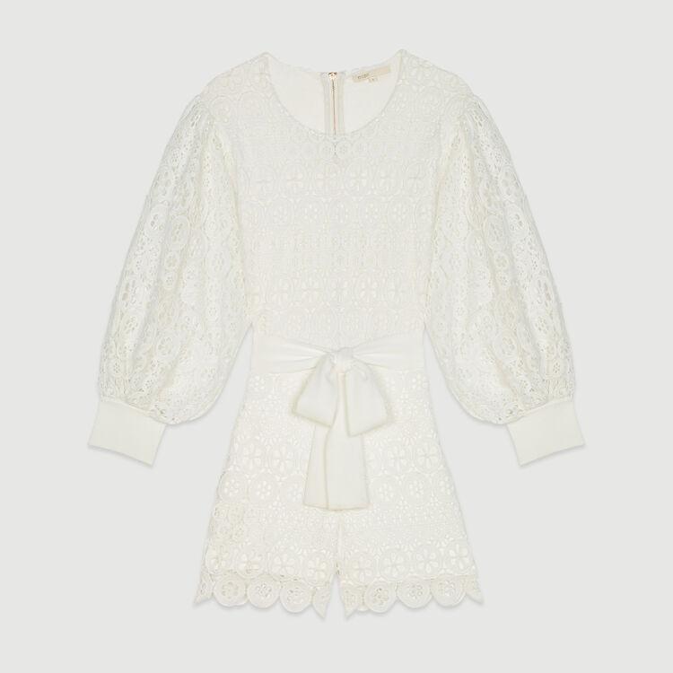 Daisy guipure jumpsuit-short : Jumpsuits & Rompers color WHITE