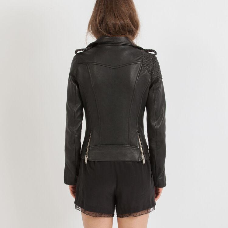 Leather blouson jacket shoulder details : Copy of Sale color