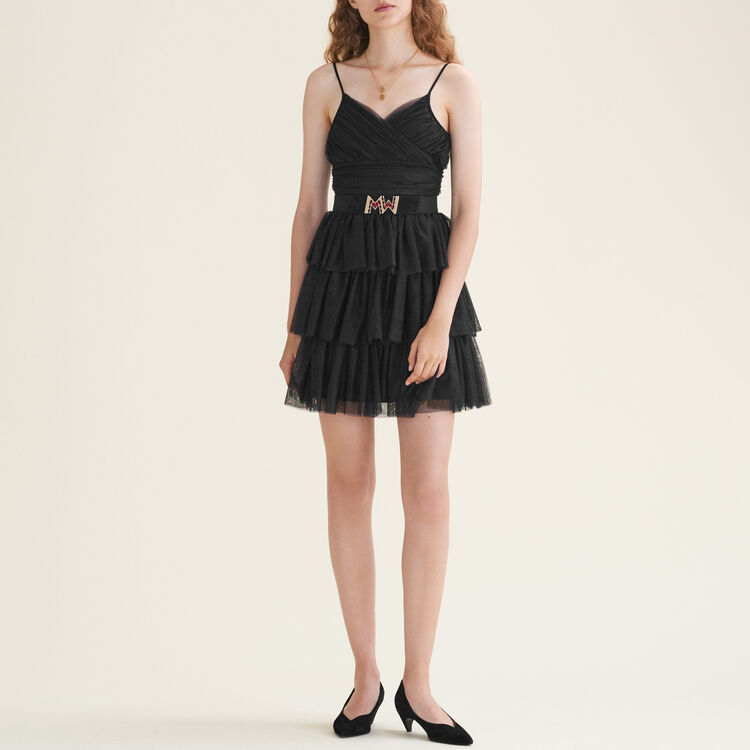 Short frilled tulle dress : null color