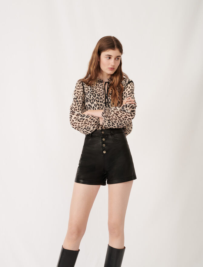Leather shorts with button details -  - MAJE