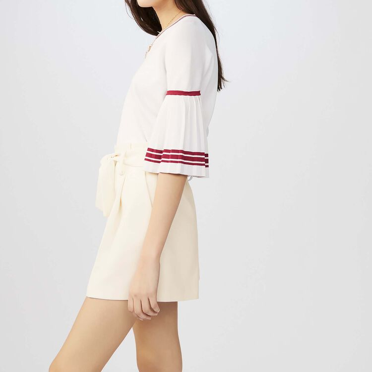 High-waisted crepe shorts : Skirts & Shorts color White