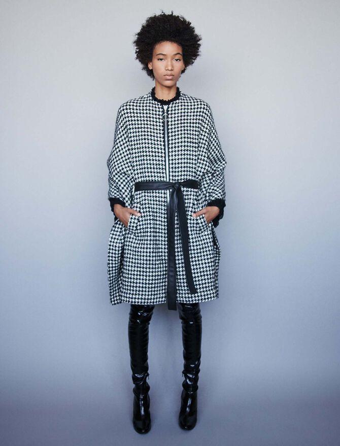 Houndstoothcape-style coat - Coats & Jackets - MAJE