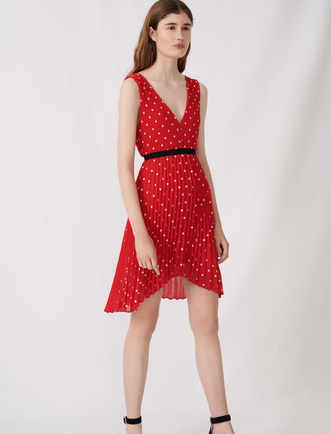 Embroidered and pleated dress -  - MAJE