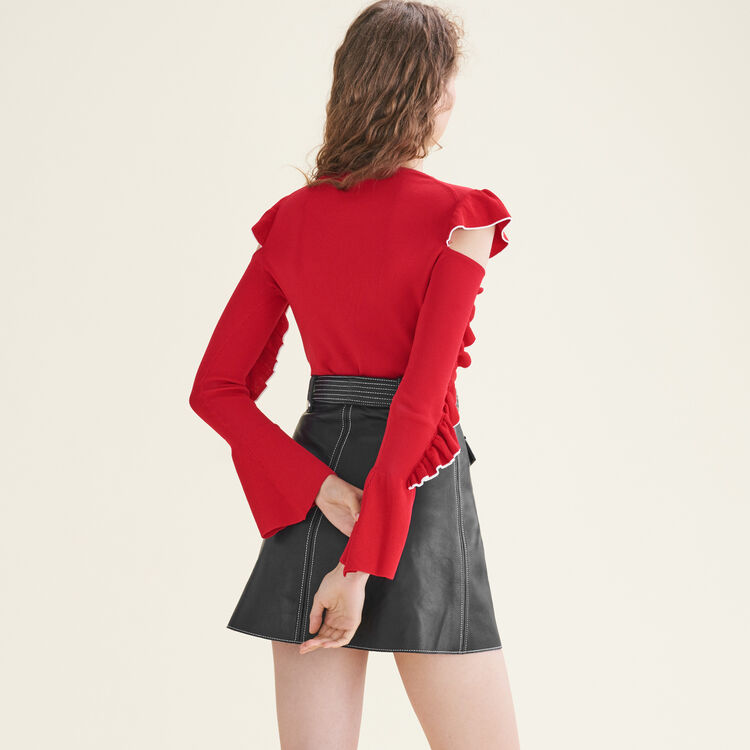Knitted off-the-shoulder jumper : Sweaters color Red