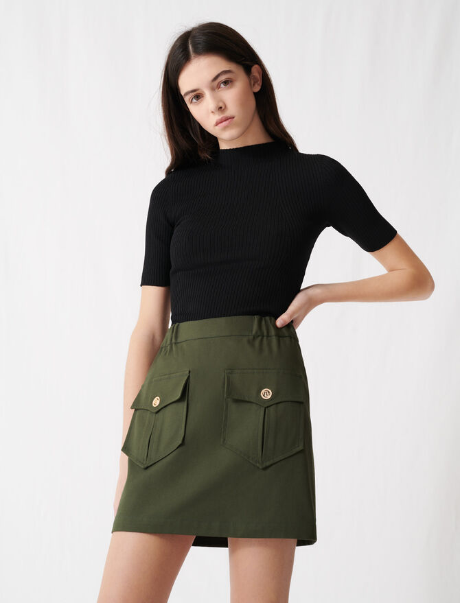 Khaki cotton skirt with pockets - Skirts & Shorts - MAJE