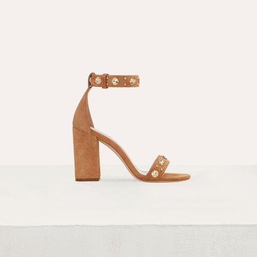 Suede heeled sandals : Shoes color Camel