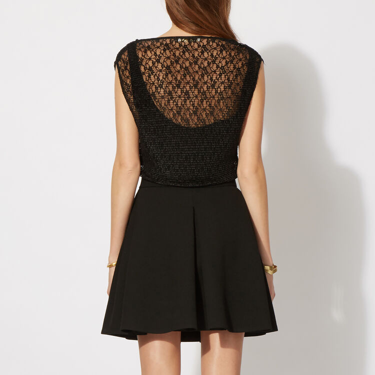 Pleated lace dual fabric dress  : Copy of Sale color