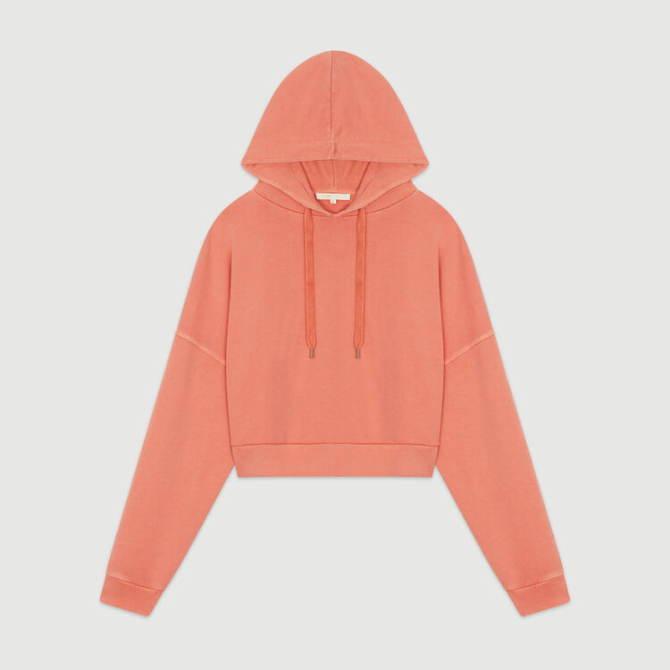 Cropped hooded sweatshirt : New in: Spring Collection color Coral